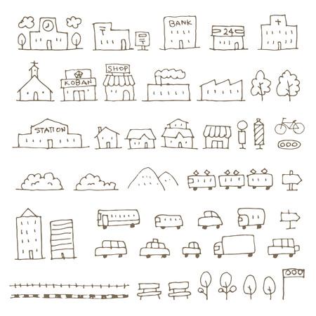 マップ要素をスケッチ アイコン セット、家、建物、ショップ、車、