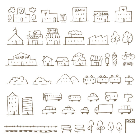 Map elements sketch icon set, house, building, shop, vehicle and more Illustration