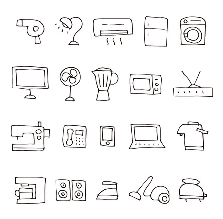 Hand drawn sketch home electric appliance illustration icon set