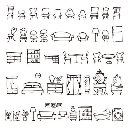 Hand drawn furniture sketch icons