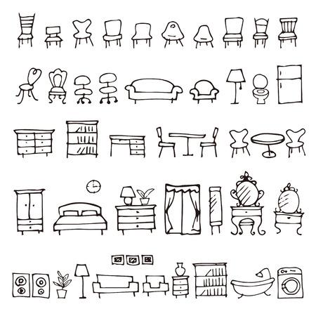 Hand getekende meubels schetspictogrammen