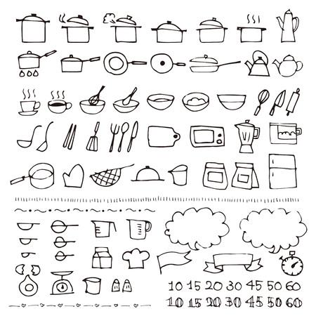 Hand getrokken kookgerei schets pictogram Vector Illustratie
