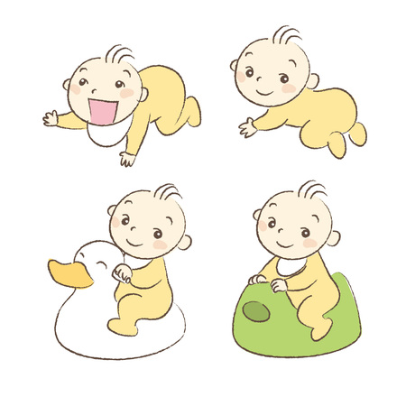 Set of babies various poses and expression
