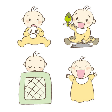 muddy: Set of babies various poses and expression