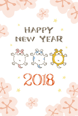 New Year card with dog illustration for year 2018 Illustration