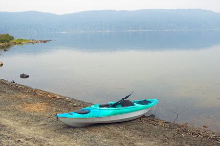Kayak at a beach of Lake in Camping ground