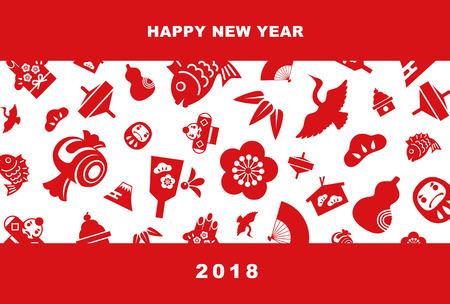 Illustrazione di carta di nuovo anno 2018 con foglia di pino, foglia di bambù, fiore di prugna, snapper rosso, gru, filatura, ventilatore a mano, bambola tumbling, Mt.Fuji e aquilone, elementi di Capodanno