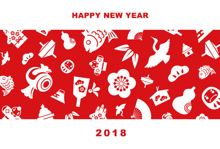2018 New Year card illustration with pine leaf, bamboo leaf, plum flower, red snapper, crane, spinning top, hand fan, tumbling doll, Mt.Fuji and kite, New Year elements