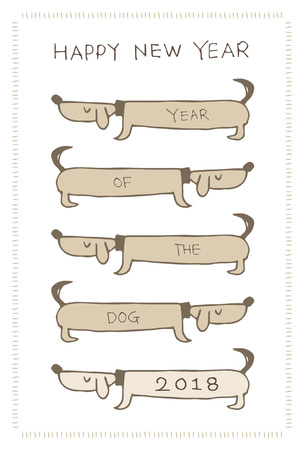 New Year Card with dog dachshunds for 2018