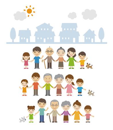 手を繋いで、一緒に家の前に立っての 3 世代家族  イラスト・ベクター素材