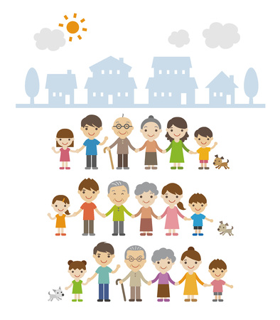 Three generation families holding hands and standing together in front of houses