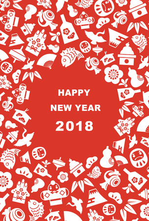New Year card for year 2018 with Japanese new year good luck elements 일러스트