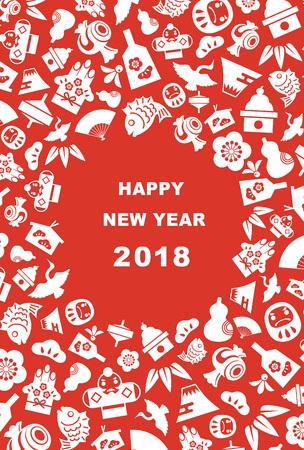Carta di Capodanno per l'anno 2018 con gli elementi fortunati del nuovo anno giapponese