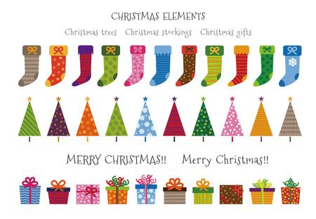 다채로운 무늬 크리스마스 나무, 선물 및 스타킹 크리스마스 요소 일러스트 스톡 콘텐츠 - 89179342