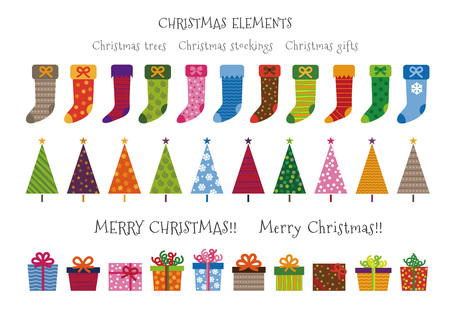 Colorful patterned Christmas trees, gifts and stockings Christmas elements illustration