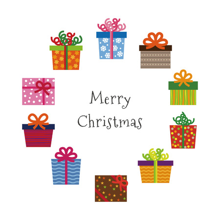 Christmas greeting card with colorful patterned Christmas gifts illustration