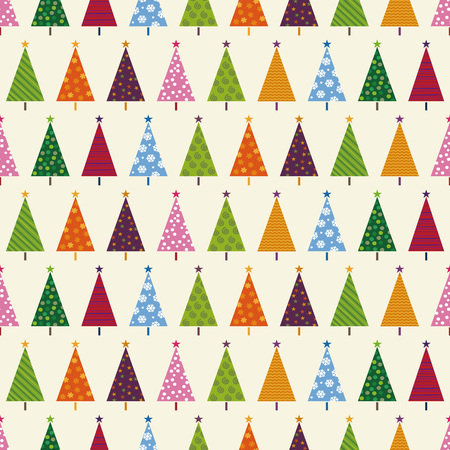 Colorful Christmas pattern with Christmas trees Ilustração