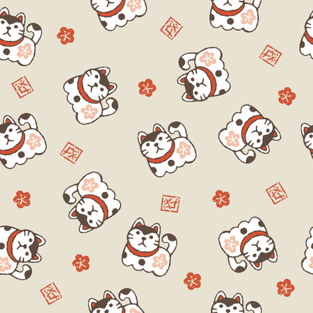 New year pattern with guardian dogs and plum flowers and year of the dog kanji symbol Illustration