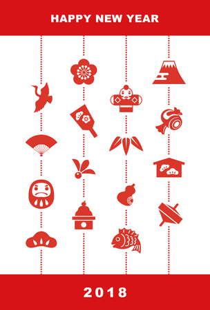 New Year card with Japanese good luck elements for year 2018, pine leaf, bamboo leaf, plum flower, red snapper, crane, spinning top, hand fan, tumbling doll,  and kite