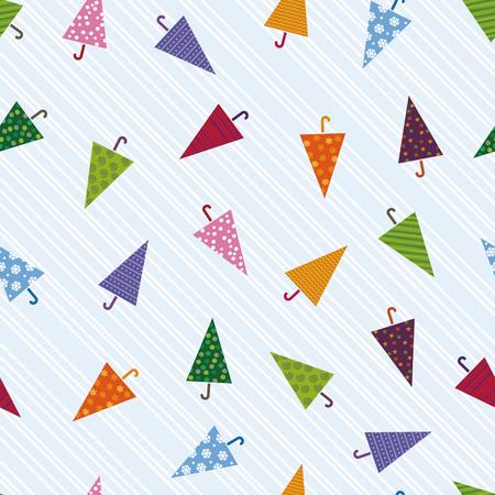 paper umbrella: Seamless colorful umbrella pattern, image of rain Illustration
