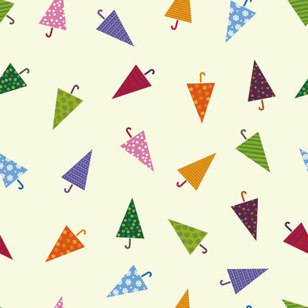 Seamless colorful umbrella pattern, image of rain Çizim