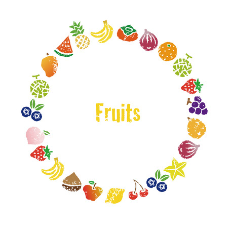 Decorative colorful fruits wreath, frame design