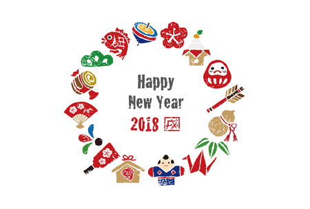 New year card, wreath with Japanese good luck elements for year 2018 Vectores