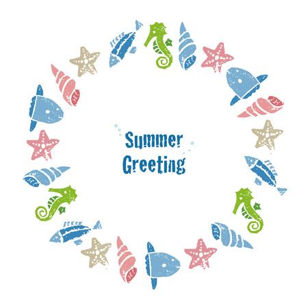 Krans met kleurrijke vissen en schaaldieren, wenskaarten, zonnevlees, zeepaardjes en ster vissen