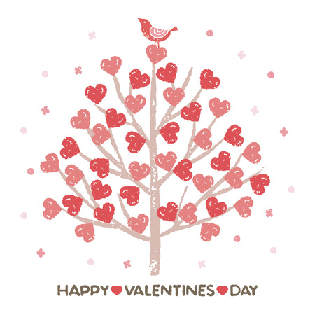 Valentines day tree with heart shaped leaves and little bird design Illustration