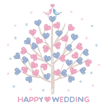 Wedding celebration, Tree with heart shaped leaves and little birds love each other
