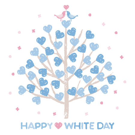 White day, Tree with heart shaped leaves and little birds love each other