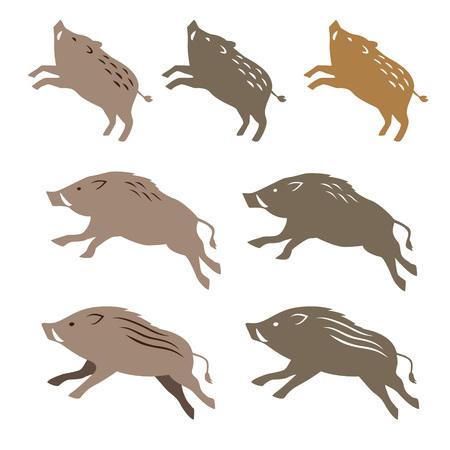 Wild boar wild pig, animal illustrations on white background Foto de archivo - 95178561