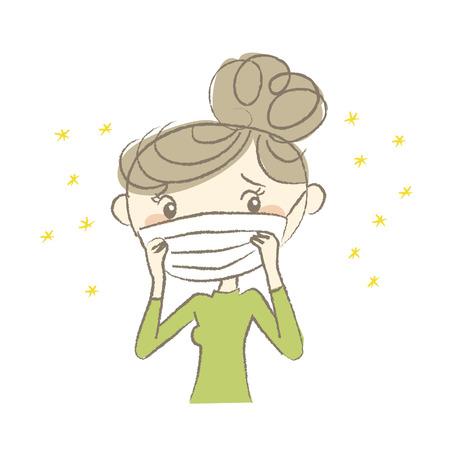 Jonge vrouw met chirurgisch masker dat hooikoorts heeft Vector Illustratie