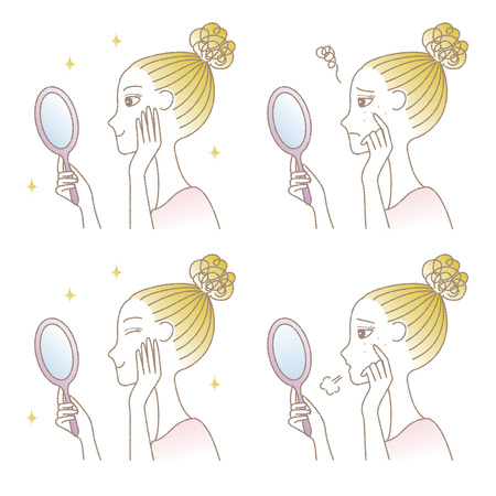 Woman looking into the hand mirror, skin trouble, skin care
