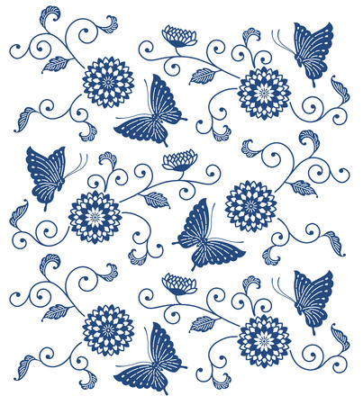 Japanese style indigo blue floral pattern with butterflies Ilustrace