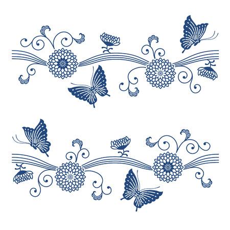 Japanese style indigo blue floral pattern with butterflies Çizim
