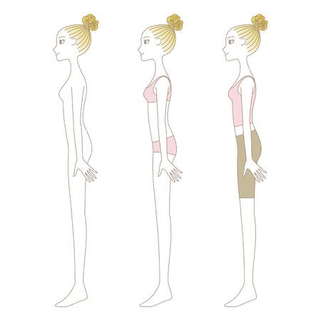 Mujer en ropa interior, pantalones de yoga, cuerpo entero desnudo delante y detrás Foto de archivo - 97763737