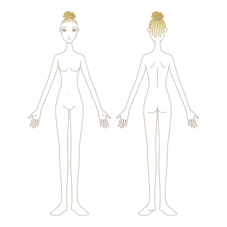 Woman with no clothes Full Body front and back