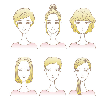 Set of women in different hairstyles
