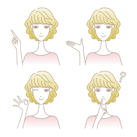 Set of women in different poses vector illustration. 向量圖像
