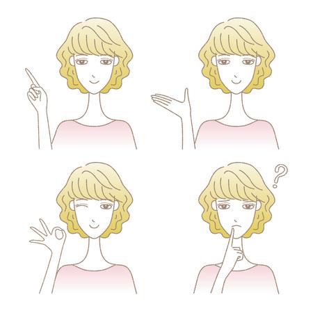 Set of women in different poses vector illustration. Illustration