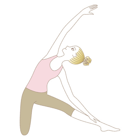 Yoga exercise, yoga pose, woman in Gate Pose illustration.