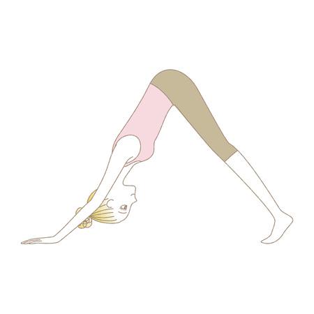 Woman in yoga downward facing dog pose illustration.