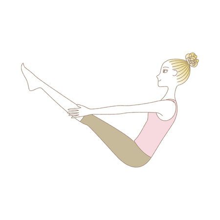 Woman in yoga pull boat pose illustration.