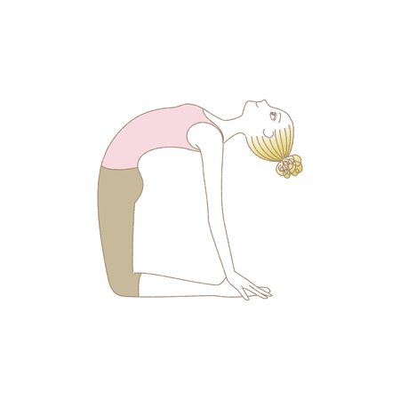 Yoga exercise woman in Camel Pose  イラスト・ベクター素材