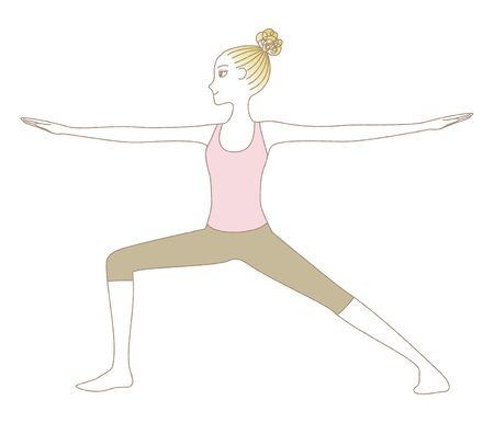 Yoga exercise woman in Warrior Pose isolated on plain background Illustration