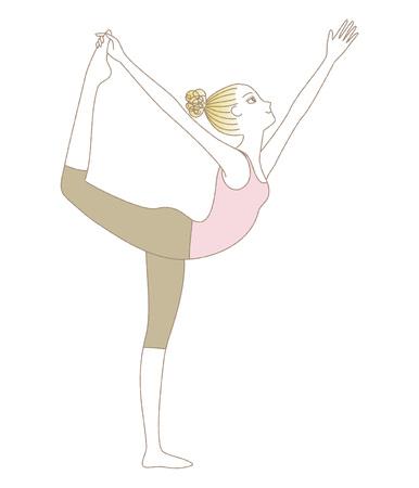 Yoga exercise, yoga pose, woman in Lord of the Dance Pose Vektoros illusztráció