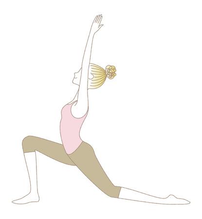 Yoga exercise, yoga pose, woman in Low Lunge Vektoros illusztráció