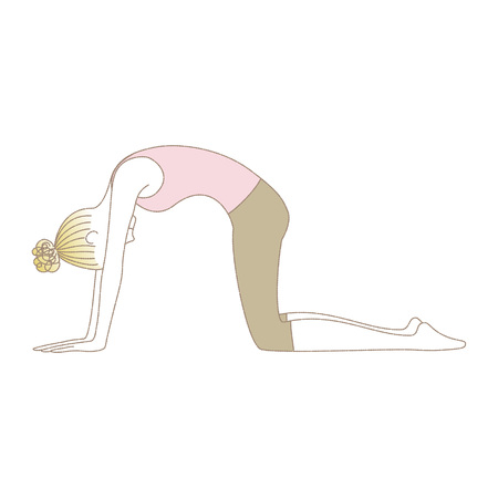Yoga exercise, yoga pose, woman in Cat Pose