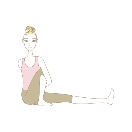 Yoga exercise, yoga pose, woman in Marichi's Pose / Pose Dedicated to the Sage Marichi â…¢  Stock Illustratie